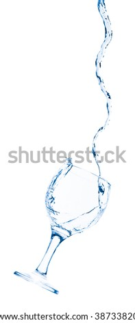 Goblet pouring with splashing water - isolated on white