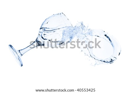 Goblet with splash of water - isolated on white