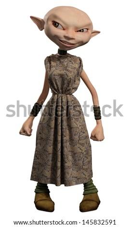 Goblin servant girl, 3d digitally rendered illustration - stock photo