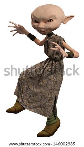 Goblin servant girl sneaking, 3d digitally rendered illustration - stock photo