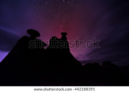 Goblin Valley Eroded Hoodoos against beautiful starry night sky