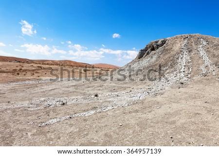 Gobustan mud volcano in Azerbaijan (Qobustan, close to Baku) - stock photo