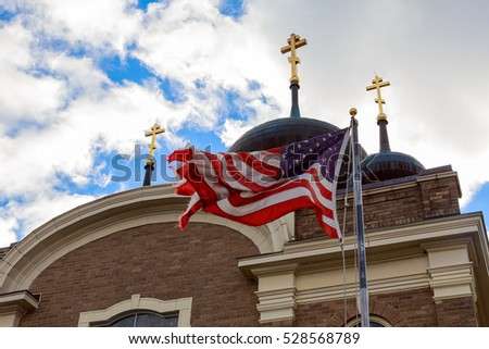 God Bless America American flag and church steeple