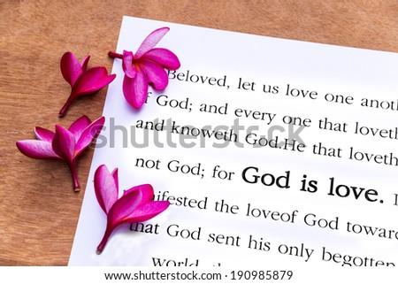 God is love. 1john 4:8, Holy Bible - stock photo