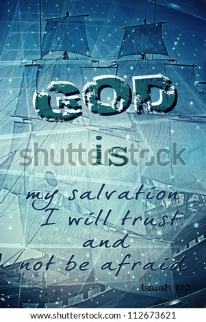 God is my salvation  Religious Background - stock photo