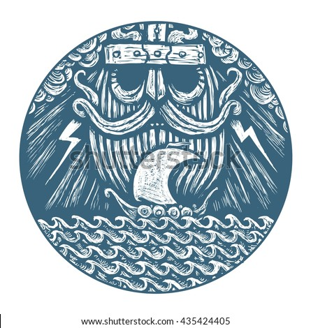 God is Odin storm sea and Drakkar . Illustration of a circle