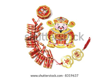 God of Wealth and Fire Crackers on White Background