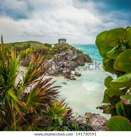 God of Winds Temple at Tulum in Quintana Roo, Mexico - stock photo