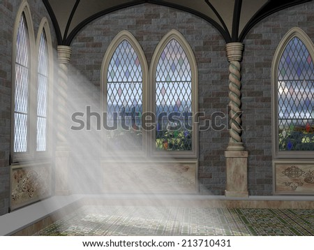 God rays streaming through a stained glass leaded window - stock photo