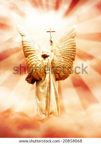 God's angel with the cross in the sky - stock photo