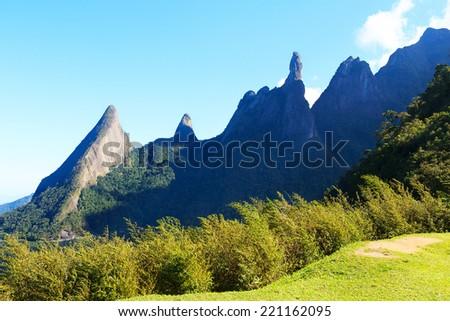 God's Finger (Dedo de Deus) rock - the peak of National Park The Serra dos Orgaos, Rio de Janeiro, Brazil - stock photo