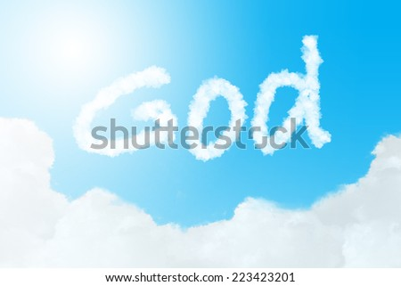 God text in clouds form with blue sky background - stock photo
