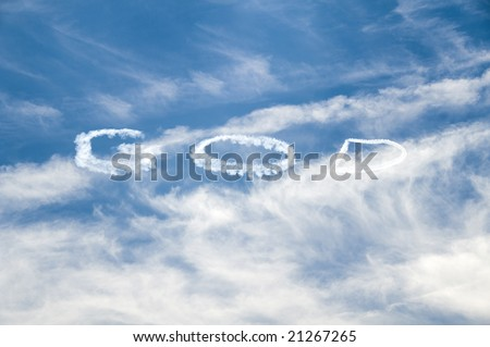 God written in the sky be an airplane - stock photo