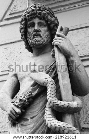 God Zeus. The king of the gods the ruler of mount Olympus and the god of the sky and thunder. - stock photo