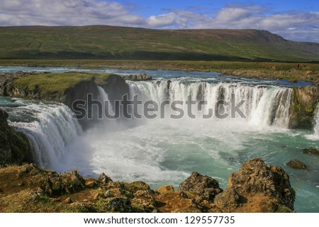 Godafoss, 'Fall of the Gods', only 12 meters high but one of the most famous and beautiful falls in Iceland.