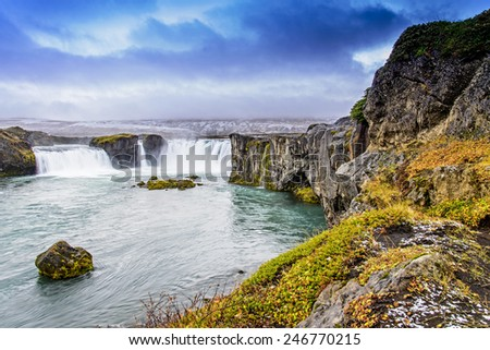 Godafoss, Iceland in the cloudy day - stock photo