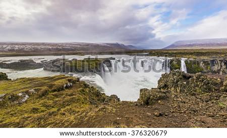 Godafoss is a very beautiful Icelandic waterfall. - stock photo