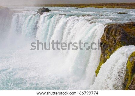 Godafoss is one of the most famous and beautiful falls in Iceland - stock photo