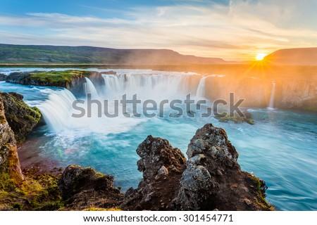 Godafoss waterfall at sunset, Iceland, Europe - stock photo