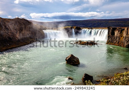 Godafoss waterfall in Iceland - stock photo