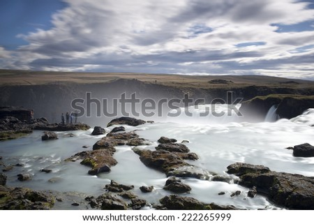 Godafoss waterfall in Iceland.  Long exposure - stock photo
