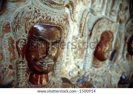 Goddess of Angkor Wat, Cambodia - stock photo