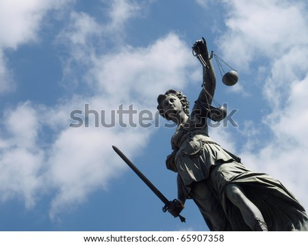 Goddess of justice at Frankfurt Roemer - stock photo