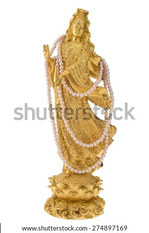 Goddess of mercy Guan yin statue on white isolated background with clipping path. - stock photo
