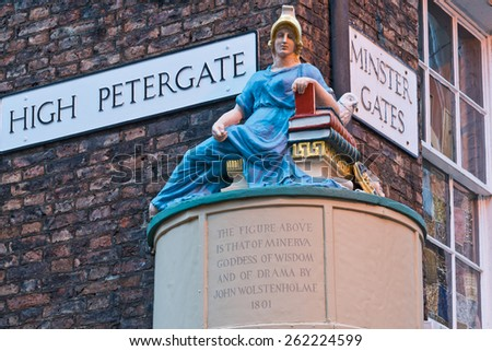 Goddess of Wisdom Figure York England at High Petergate and Minster Gates Streets - stock photo
