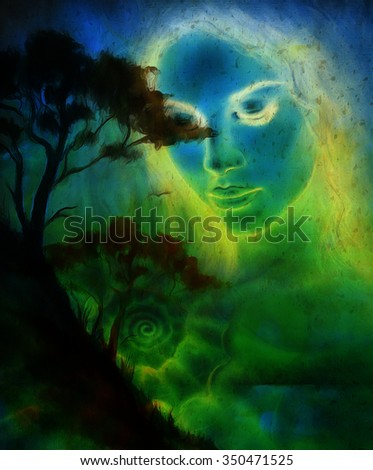 Goddess woman, with ornamental face and tree, and color abstract background. meditative closed eyes,  computer collage