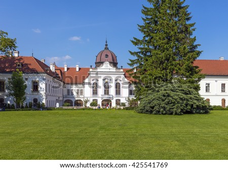 GODOLLO - MAY 21: The Royal Palace in Godollo, Hungary, on May 21, 2016. The palace was the favorite summer home of Habsburg princess Elizabeth and her husband, Franz Joseph. - stock photo