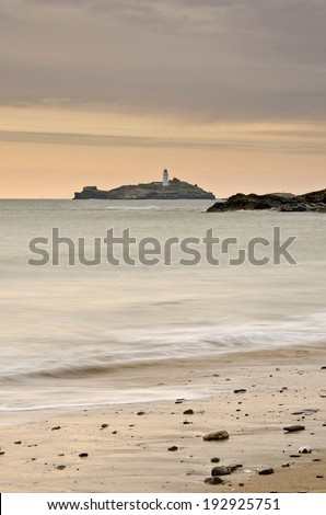 Godrevy Lighthouse, Cornwall, England - stock photo