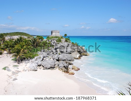 Gods of Winds Temple by the beach,  Tulum, Yucatan - stock photo