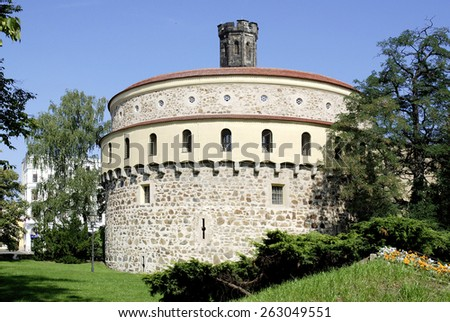 Goerlitz, Saxony, Germany - June 21, 2010: Old Bastion Kaisertrutz in the Old city of Goerlitz in Saxony.