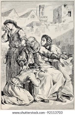 Goetz von Berlichingen death. Goethe's drama, fifth act. Created by Delacroix, published on Magasin Pittoresque, Paris, 1845 - stock photo
