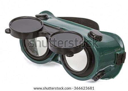 Goggles for welding work, isolated on white background, with clipping path