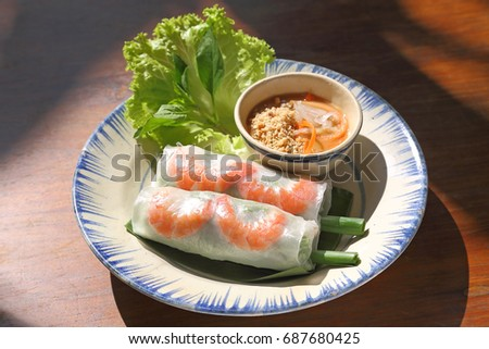 Goi Cuon Vietnamese Food Fresh Salad Rolls With Shrimp Pork