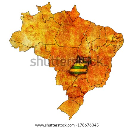 goias state on administration map of brazil with flags - stock photo