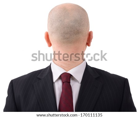 Going in the wrong direction? Man with head on backwards isolated on a white background - stock photo