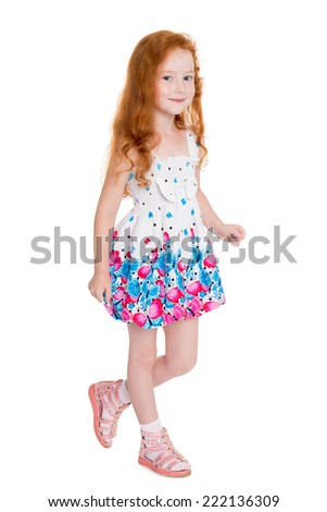 Going little playful girl. Girl six years.  - stock photo