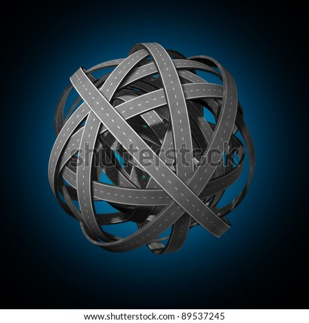 Going nowhere confused strategy and lost direction in business and life symbol as tangled roads and highways interlinked chaotic paths complicated and has no end or beginning as a wrong plan on black. - stock photo