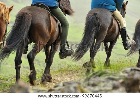 going on horseback in the mountains if Iceland - stock photo