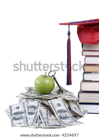 Going to school is your future. Education, learning, teaching. A graduation cap with an apple and alot of money - stock photo
