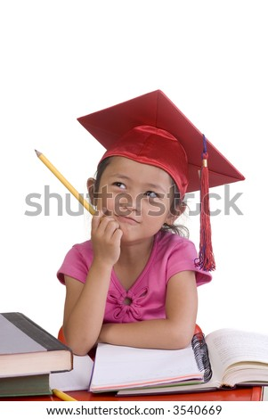 Going to school is your future. Education, learning, teaching. A young girl thinks about her future. - stock photo