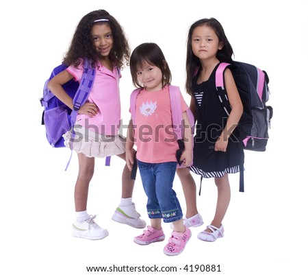 Going to school is your future. Education, learning, teaching. 3 young girls ready for the first day of school - stock photo