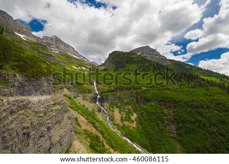 Going to the sun road, Glacier National Park. Montana - stock photo