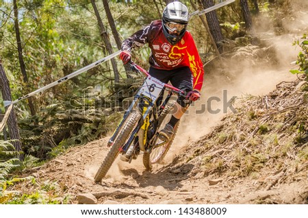 GOIS, PORTUGAL - JUNE 23: Claudio Loureiro during the 4th Stage of the Taca de Portugal Downhill Vodafone on june 23, 2013 in Gois, Portugal.