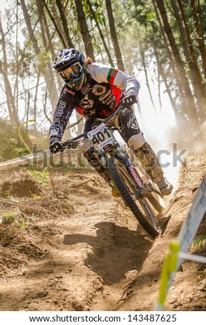 GOIS, PORTUGAL - JUNE 23: Joao Estevao during the 4th Stage of the Taca de Portugal Downhill Vodafone on june 23, 2013 in Gois, Portugal.
