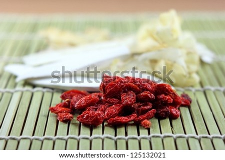 goji berry and chinese spices - stock photo