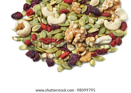 Goji berry trail mix on white - stock photo
